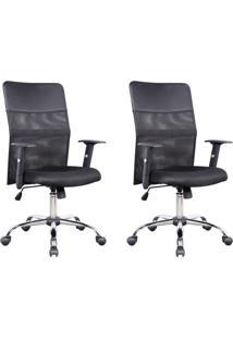 Conjunto Com 2 Cadeiras De Escritório Diretor Giratórias Com Braços Ajustáveis Vancouver Preta