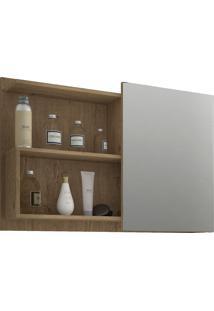 Espelheira Para Banheiro Com 1 Porta E 2 Prateleiras 80Cm Lis-Mgm - Carvalho