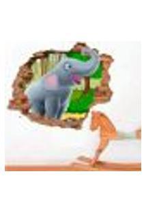 Adesivo De Parede Buraco Falso 3D Infantil Elefante - G 82X100Cm
