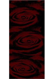 Passadeira Veludo Marbella Boreal Rosas Vermelho 60X120 Rayza