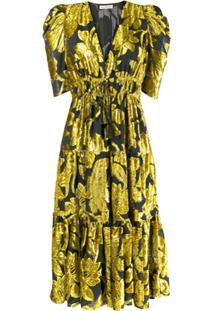 Ulla Johnson Vestido Midi Bicolor - Amarelo
