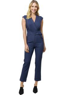 Macacão Mx Fashion Longo Com Transpasse Ramon Azul Marinho