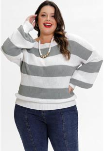 Blusa Plus Size Em Tricô Listrada