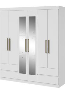 Guarda Roupa Zeus 6 Portas E 4 Gavetas C/ Espelho Branco Lopas - Tricae