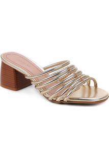 Tamanco Shoestock Tiras Pesponto Salto Médio - Feminino-Dourado