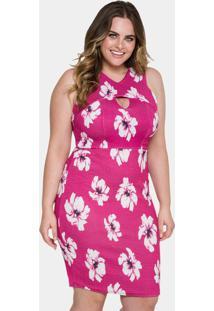 1dc8b2124 ... Vestido Tubinho Floral Rosa Lunender Mais Mulher