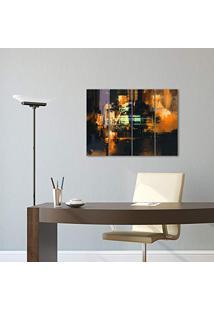 Placa Painel Decorativa Em Mdf Foto Abstrato Luzes Kit 4 Placas