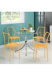 Mesa 375 Vidro Incolor Cromada Com 4 Cadeiras 1716 Amarela Carraro