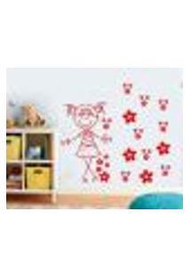 Adesivo De Parede Cartelas Infantil Menina Com Flores - G 60X60Cm