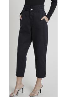 Calça Jeans Feminina Mindset Cintura Super Alta Com Babado Preta