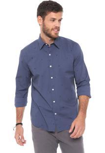 Camisa Ellus Reta Estampada Azul-Marinho