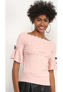Blusa Lily Fashion Com Perolas Feminina - Feminino-Rosa Claro