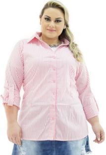Camisa Tricoline Plus Size Confidencial Extra Listrada Rosa