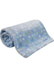 Cobertor Bebê Microfibra Flannel Camesa Azul Poa
