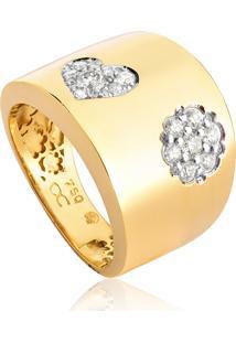 Anel De Ouro 18K De Coração/Flor Com Diamantes