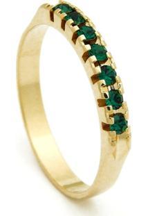 Meia Aliança Horus Import Banhada Ouro Amarelo Pedras Esmeralda Verde - Kanui