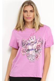 Camiseta Colcci Estampada Feminina - Feminino-Lilás