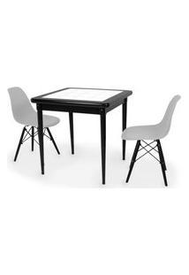 Conjunto Mesa De Jantar Em Madeira Preto Prime Com Azulejo + 2 Cadeiras Eames Eiffel - Cinza