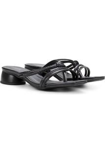 Sandália Griffe Multi Tiras Salto Redondo Feminino - Feminino-Preto