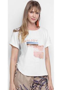 Camiseta Morena Rosa Abertura Lateral Enjoy Growing Feminina - Feminino-Bege