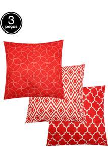 Kit 3Pçs Capa De Almofada Stm Home Veludo Geometrics Vermelho