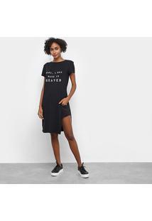 Tshirt My Favorite Thing Alongada Com Fendas Feminina - Feminino-Preto