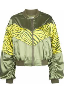 Apparis Jaqueta Bomber Com Estampa De Zebra - Verde