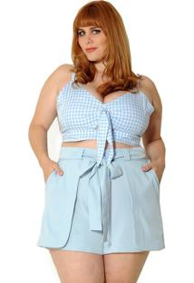 Blusa Vintage And Cats Cropped Plus Size Vichy Azul Claro