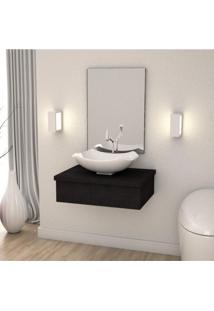 Conjunto Para Banheiro Gabinete Com Cuba Abaulada L42 600W Metrópole Compace Preto Onix