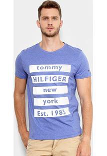 Camiseta Tommy Hilfiger Estampada New York Manga Curta Masculina - Masculino-Azul Royal