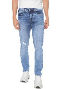 Calça Jeans Hering Skinny Destroyed Azul