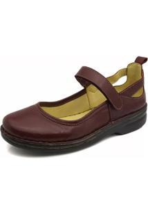 Sapato Couro Doctor Shoes 364 Pespontos Morango
