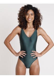 Maiô Body Com Crochê Sem Bojo Proteção Uv50+ Verde Escuro