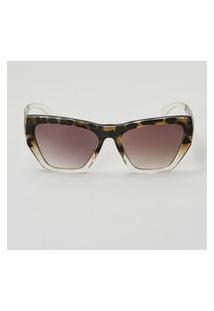 Amaro Feminino Óculos De Sol Gatinho Geométrico Acetato Reciclado, Tartaruga