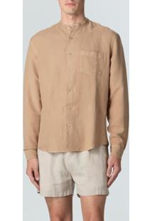Camisa Band Collar-Caqui - P
