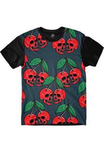 Camiseta Bsc Cherry Skull Sublimada Preto