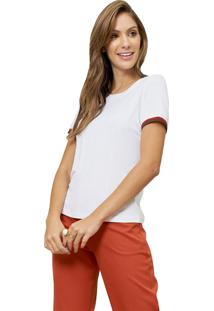 Blusa Mx Fashion Com Punho Listrado Luma Off White - Tricae