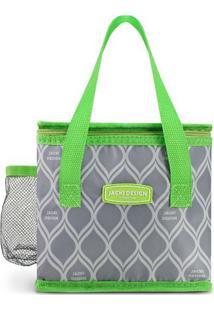 Bolsa Térmica Geométrica- Cinza & Verde Claro- 17,5Xjacki Design