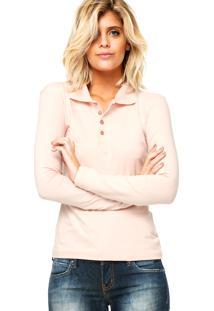 Camisa Polo Manga Longa Malwee Confort Rosa