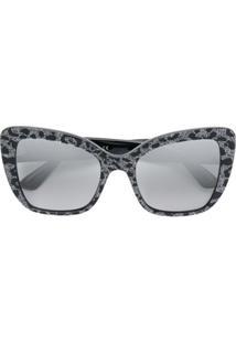 Dolce & Gabbana Eyewear Óculos De Sol Com Estampa De Leopardo E Brilho - Preto