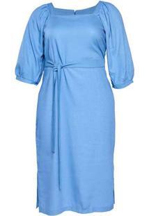 Vestido Almaria Plus Size New Umbi Linho Azul