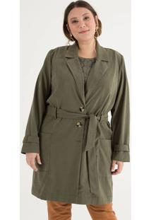Trench Coat Com Amarração E Bolsos Curve & Plus Size