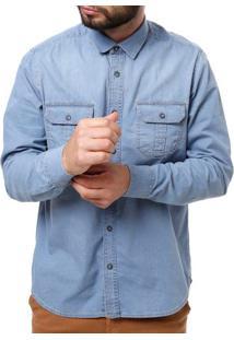 Camisa Jeans Manga Longa Masculina Azul Claro