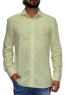 Camisa Manga Longa R.Mendes Linho Listra Amarela