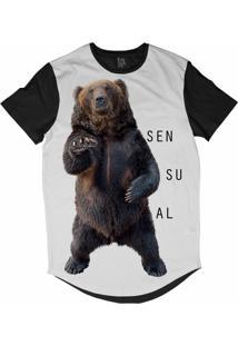 Camiseta Longline Lf Urso Sensual Sublimada Branco