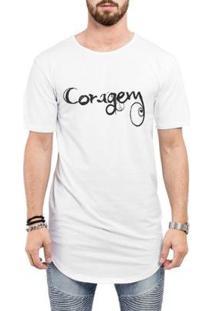 Camiseta Criativa Urbana Long Line Oversized Coragem Masculina - Masculino-Branco