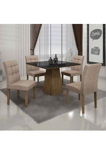 Conjunto De Mesa Com 4 Cadeiras Itália Ii Ypê E Bege
