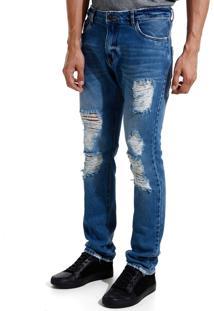 Calça John John Slim Negril Jeans Azul Masculina Cc Slim Negril-Jeans Medio-46