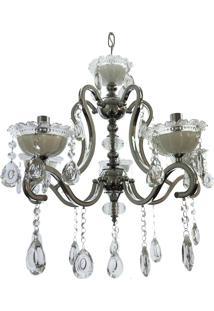 Lustre 5 Braços Cristal Diamante 6502/5 200W Bivolt Cromado/Branco