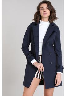 Casaco Trench Coat Feminino Transpassado Com Bolsos Azul Marinho